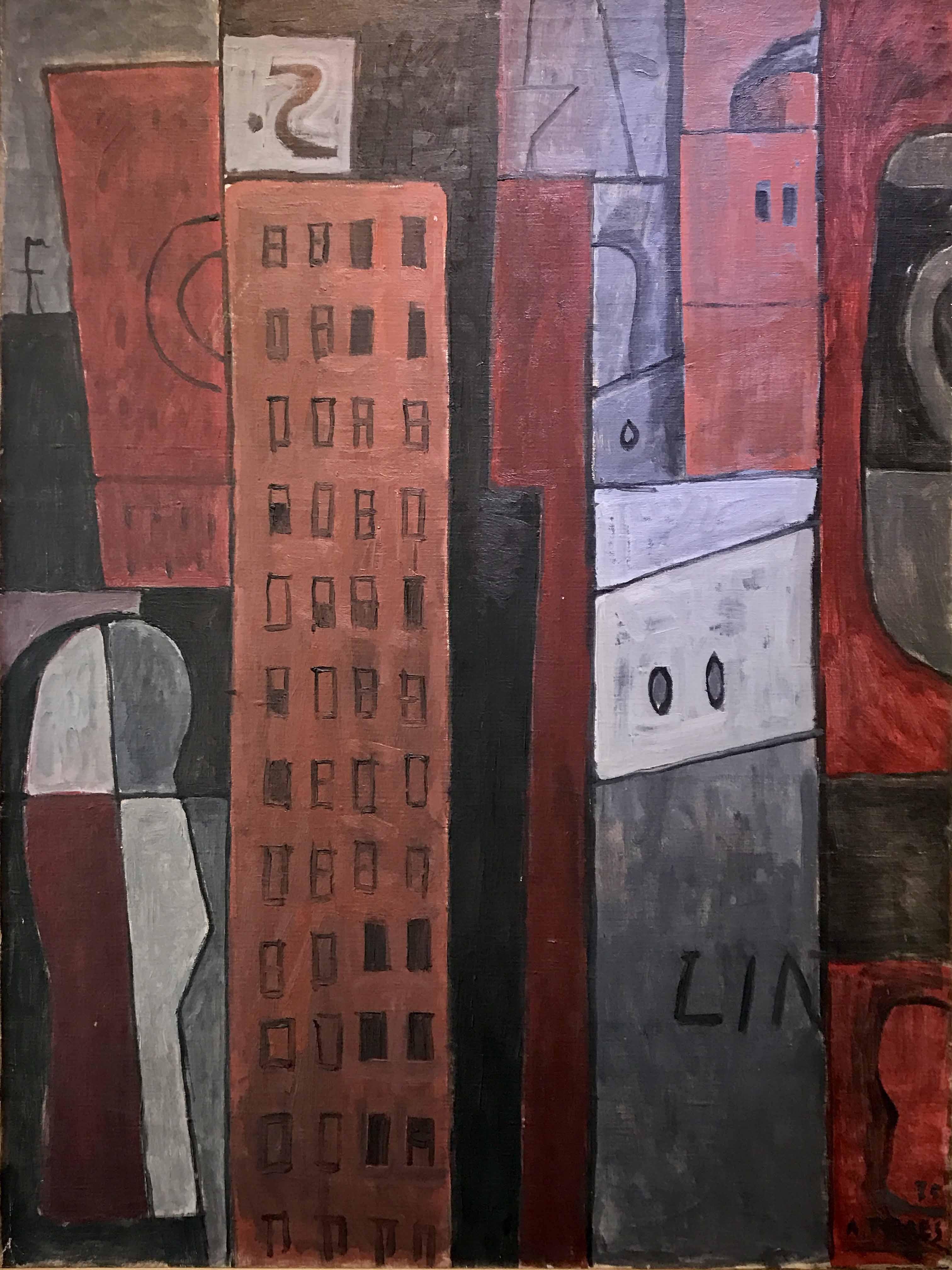 """AUGUSTO TORRES (1913 - 1992) """"RITMOS VERTICALES CON ELEMENTOS"""" Oleo sobre tela; 100 x 81 cm. Firmado y fechado ´75 abajo a la derecha. POR CONSULTAS DE PRECIOS, CONTACTE LA GALERIA. FOR PRICE´S ENQUIRIES, PLEASE CONTACT THE GALLERY."""