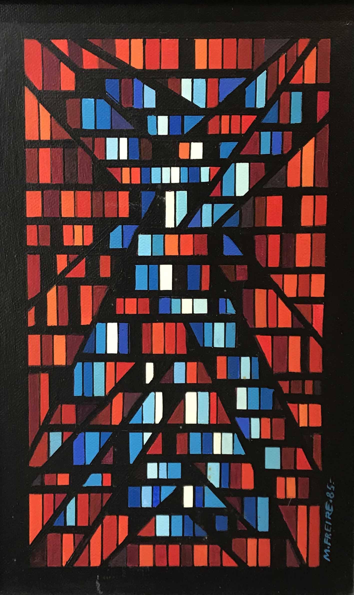 """MARIA FREIRE (1917 - 2015) """"RADIANTE"""" Acrílico sobre fibra; 45 x 29 cm. Firmado y fechado ´85 abajo a la derecha. Al dorso Firmado, fechado, titulado """"Radiante 10/1985"""". POR CONSULTAS DE PRECIOS, CONTACTE LA GALERIA. FOR PRICE´S ENQUIRIES, PLEASE CONTACT THE GALLERY."""