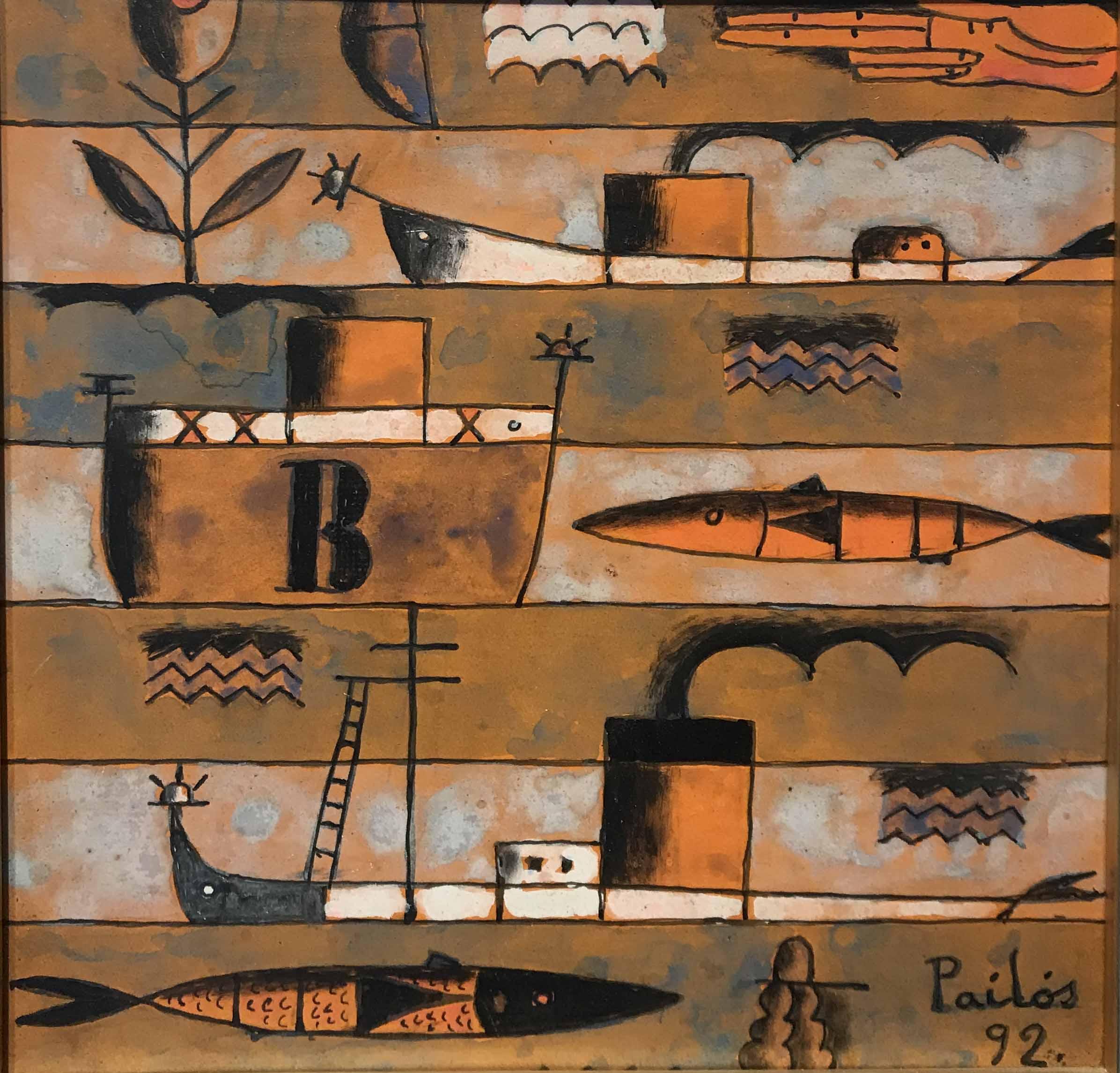 """MANUEL PAILOS (1918 - 2004) """"SERIE AVENTURAS"""" Encáustica; 20 x 20 cm. Firmado y fechado ´92 abajo a la derecha. POR CONSULTAS DE PRECIOS, CONTACTE LA GALERIA. FOR PRICE´S ENQUIRIES, PLEASE CONTACT THE GALLERY."""