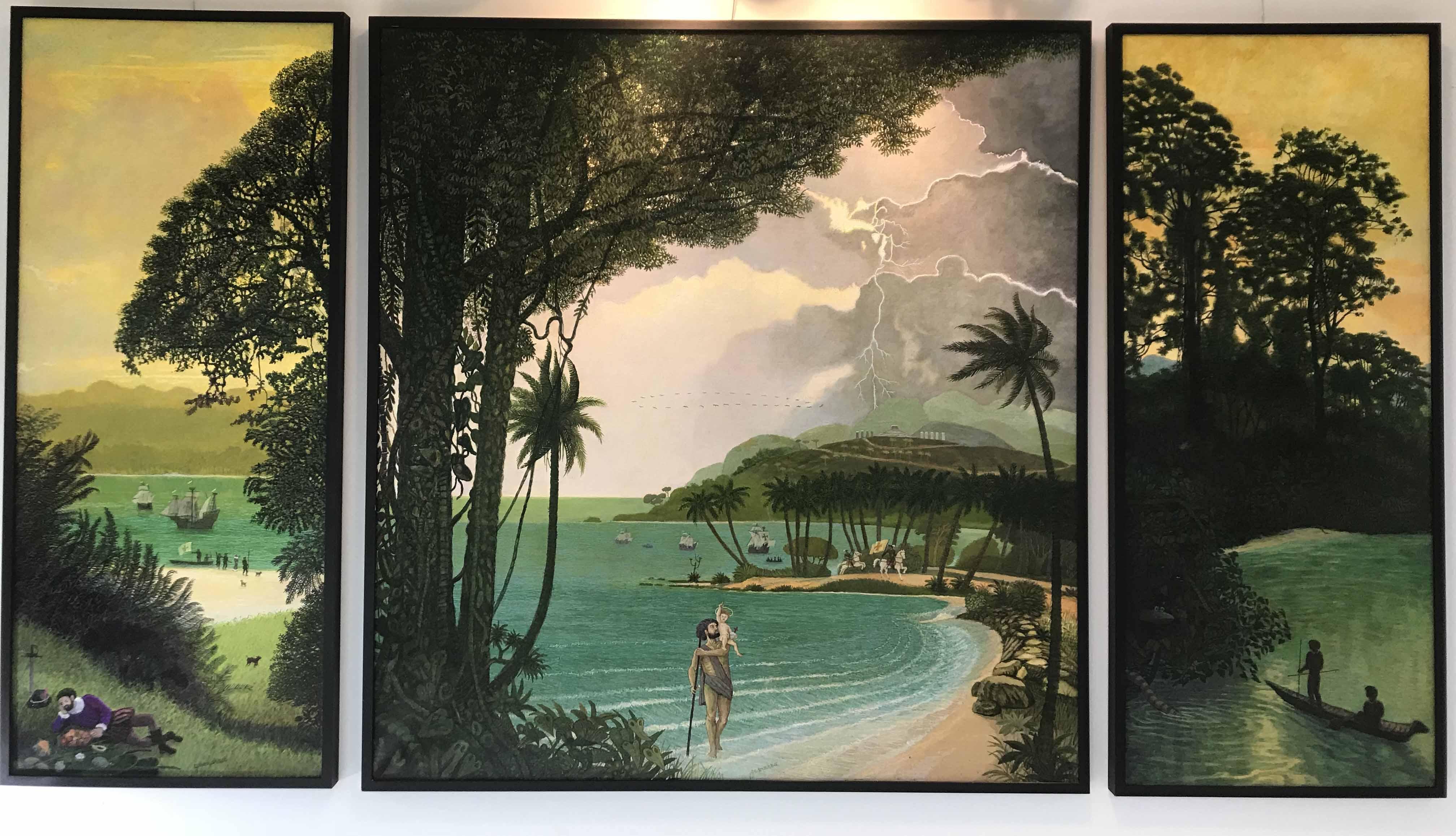 """JOSE GAMARRA (Nac. 1934) """"CRONICAS DE LA HISTORIA"""" Acrílico y óleo sobre tela; 220 x 124 cm. Firmado abajo en el centro en el tríptico de la izquierda. Firmado abajo en el centro en el cuadro central. Titulado, fechado 1993 y vuelto a firmar al dorso. POR CONSULTAS DE PRECIOS, CONTACTE LA GALERIA. FOR PRICE´S ENQUIRIES, PLEASE CONTACT THE GALLERY."""