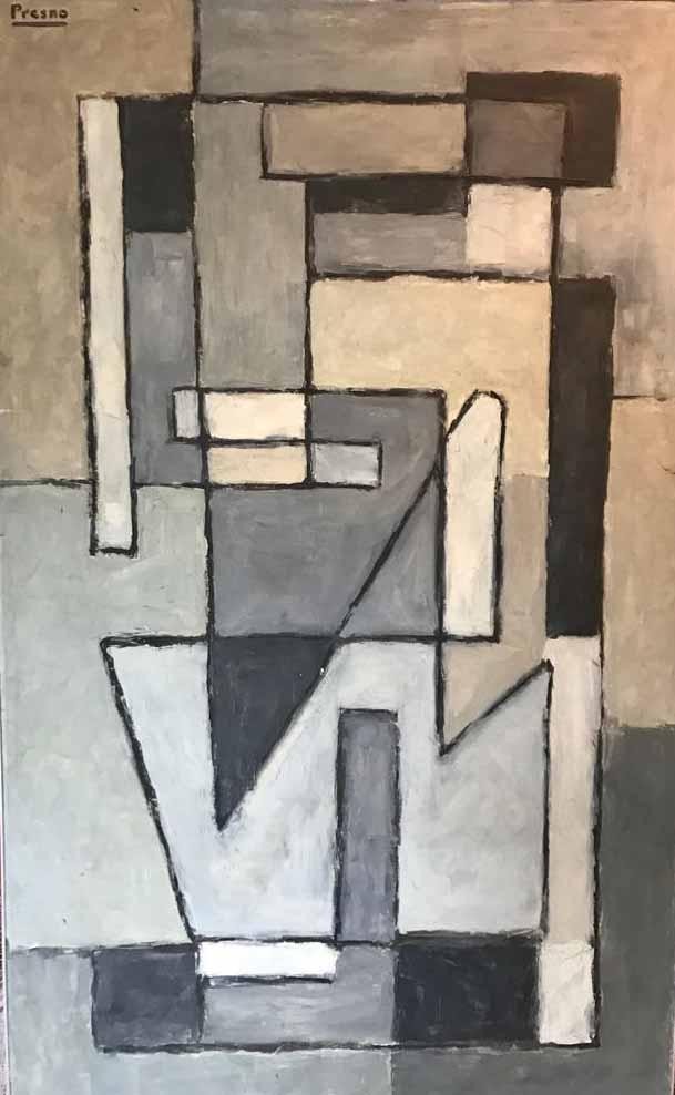 """LINCOLN PRESNO (1917 - 1991) """"GEOMETRIA GRIS"""" Oleo sobre tela; 220 x 120 cm. Firmado arriba a la izquierda. Premio 1a. Bienal de Punta del Este. POR CONSULTAS DE PRECIOS, CONTACTE LA GALERIA. FOR PRICE´S ENQUIRIES, PLEASE CONTACT THE GALLERY."""