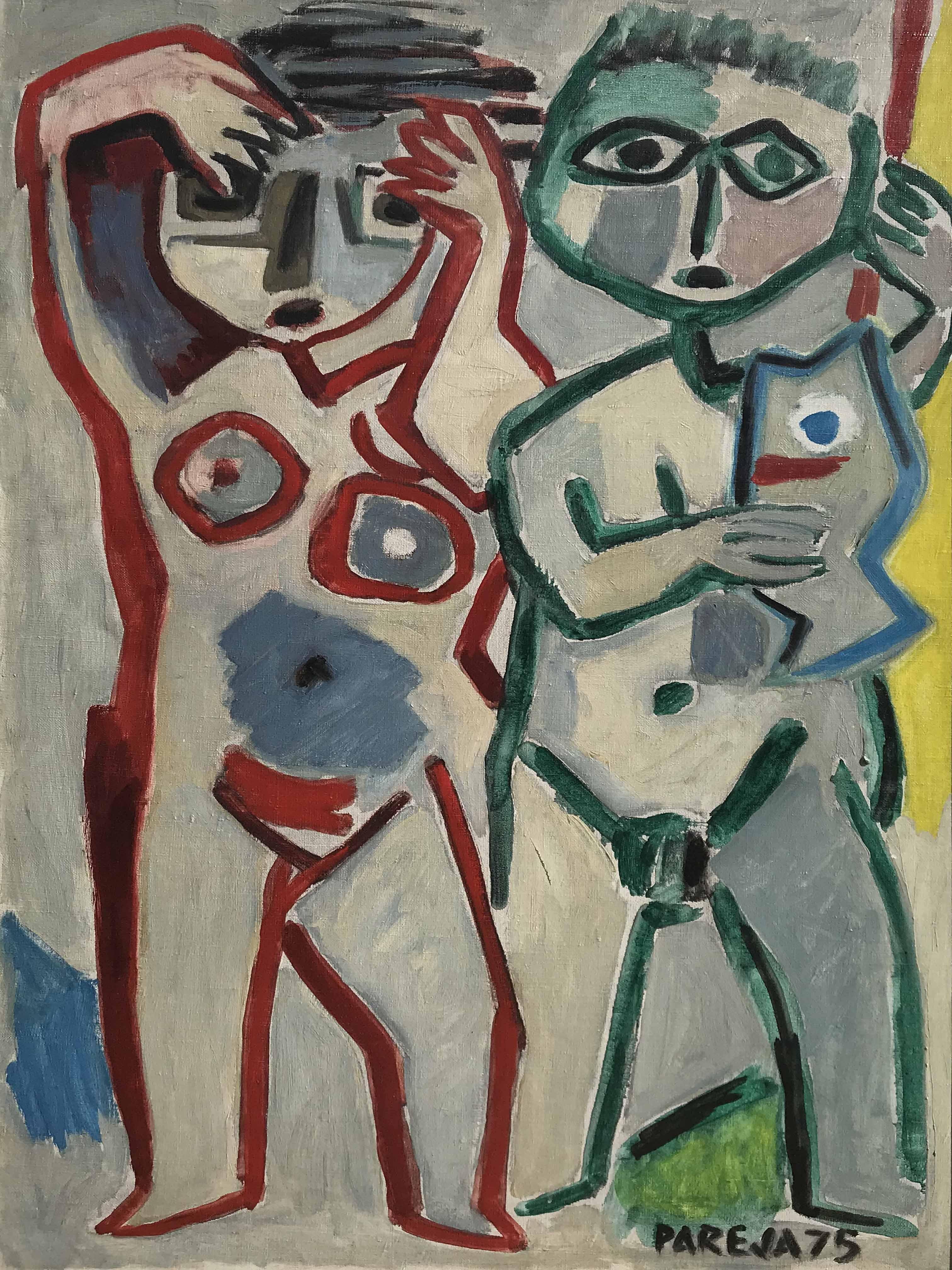 """MIGUEL ANGEL PAREJA (1908 - 1984) """"EL PEZ AZUL"""" Oleo sobre tela; 100 65 cm. Firmado y fechado ´75 abajo a la derecha. Al dorso Titulado por el Artista. POR CONSULTAS DE PRECIOS, CONTACTE LA GALERIA. FOR PRICE´S ENQUIRIES, PLEASE CONTACT THE GALLERY."""